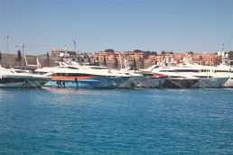 Superyachts including boats by Heesen are berthed in Port Adriano Mallorca